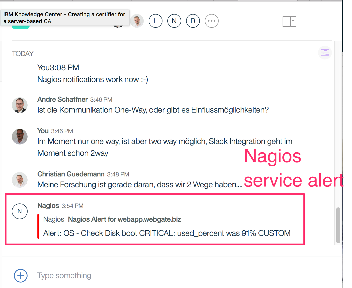 Watson Workspace Send Nagios Monitoring Alerts To A Ww Space Kbild